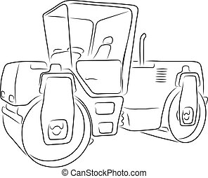 Original road roller, vector illustration - Original road...