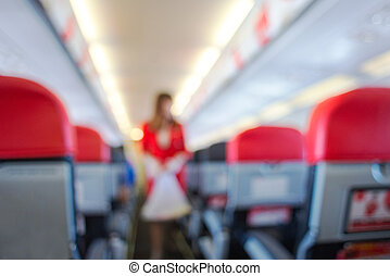 defocus interior of the passenger airplane - defocus...