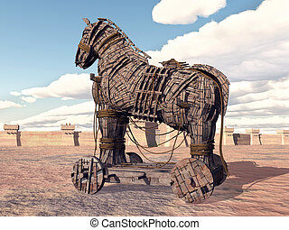 Trojan Horse - Computer generated 3D illustration with the...