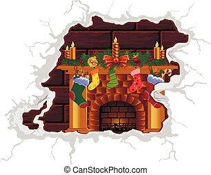 Christmas fireplace fire, vector art illustration Christmas