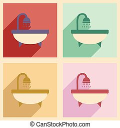 Flat with shadow concept and mobile application bath