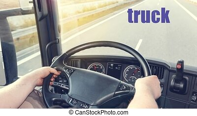 Truck driving - View on the dashboard of the truck driving....