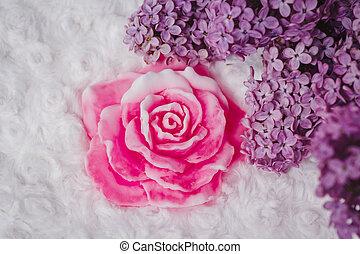 Handmade soap formed like rose