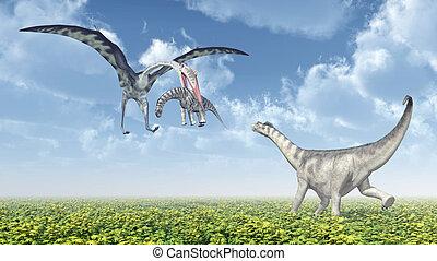Quetzalcoatlus and Camarasaurus