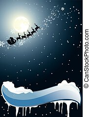 Santa Claus on a background of the - Santa Claus flies on a...
