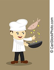 Cute Cooking Chef Illustration - illustration of a cute...