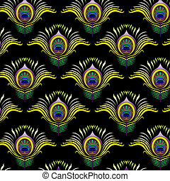 Peacock feathers vector seamless pattern background.