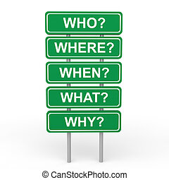 3d who where when what why sign board depicting concept of...