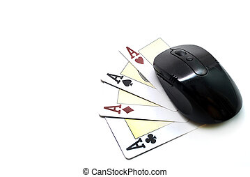 online gambling - computer mouse and four card aces isolated...