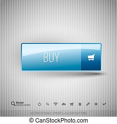 Modern button BUY with icons set.
