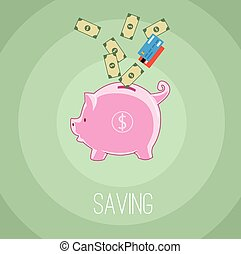 Saving money with piggybank, dollar, money, coin, and credit...