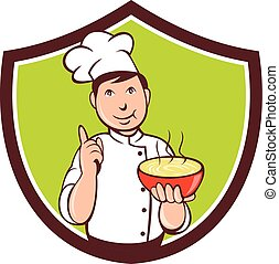 Chef Cook Bowl Pointing Crest Cartoon