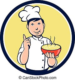 Chef Cook Bowl Pointing Circle Cartoon