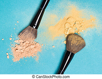 Matte compact powder and shimmer powder with makeup brushes...