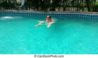 Boy In Swimming Pool - Happy Boy In Swimming Pool