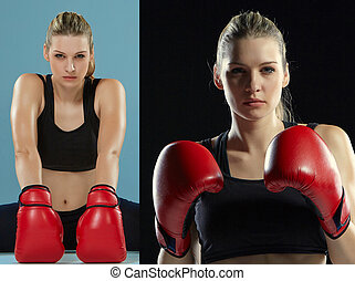 The beautiful boxer girl with the red gloves - The beautiful...