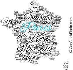 Miasta, Od, francja, Słowo, chmura,