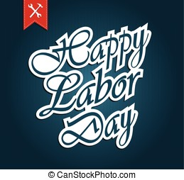 Happy Labor Day paper text Vector illustration