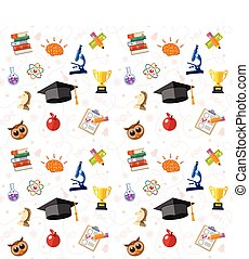 Education Seamless Pattern with Flat Icon Set for Flyer,...