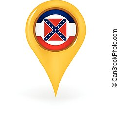 Location Mississippi - Map pin showing Mississippi