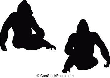 Gorilla silhouette vec...