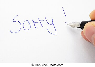 sorry - say sorry with a text message on paper and pen