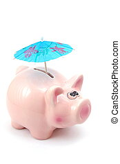piggybank - lucky piggy bank and umbrella is saving business...