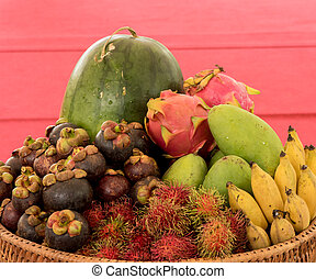 set of different fruits in the basket