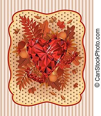 Autumn scrapping card in vintage style, vector illustration
