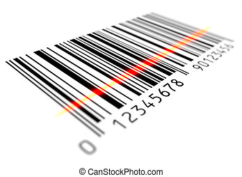 Bar Code Scanning , 3d rendered image.