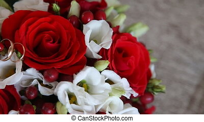 bridal bouquet with red flowers
