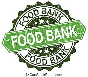 food bank green round retro style grunge seal