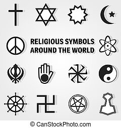 religion icon set - Religious symbols around the world ,...