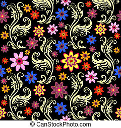 Floral seamless black background with flowers (vector)