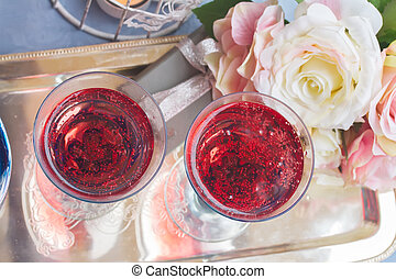 Pink champagne - Two glasses of pink champagne, top view