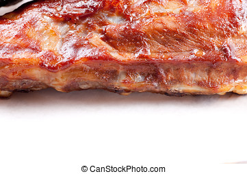 pork side ribs - some juicy barbequed organic pork side ribs