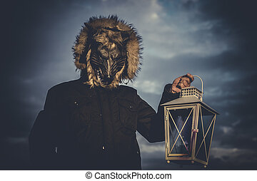 Wolves, man with mask wolf and lamp with colored smoke
