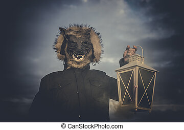 Nightmare, man with mask wolf and lamp with colored smoke