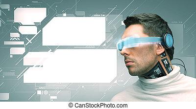 hombre, con, futurista, anteojos, y, sensors,