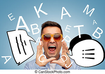 face of angry shouting man in sunglasses with text - summer,...