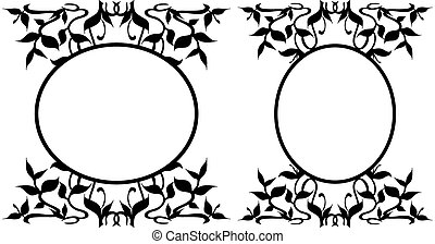 Oval Frames Collection - Floral decoration - Collection of...