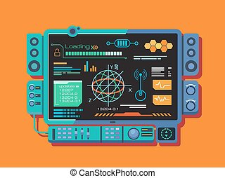 Abstract control panel with a variety of data. Information...