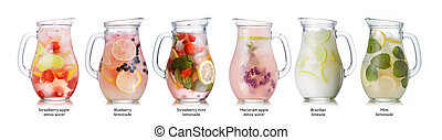 Summer drinks collection - Collection of different drinks in...
