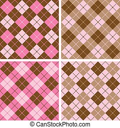 Plaid-Argyle Pattern - Set of seamless Plaid-Argyle Patterns...