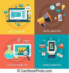 Business banners, Internet , mobile, digital, market research, video marketing. Vector flat