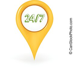 24/7 Location - Map pin showing a 24/7 sign.