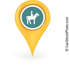 Horseback Riding Location - Map pin showing a horseback...