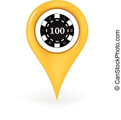 Poker Location - Map pin showing a poker chip.