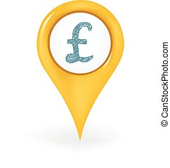 Pound Location - Map pin showing a British pound sign