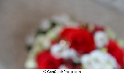 Wedding rings on the roses bridal